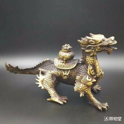 Exquisite Chinese Old Brass Carved Treasure Fire Dragon Kirin statue Collectible
