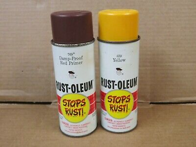 VINTAGE RUST-OLEUM SPRAY Paint Cans 1973 769 Damp-Proof Red Primer