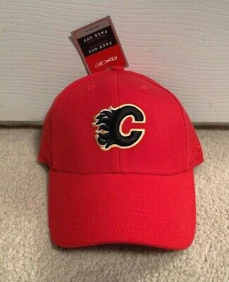 size 40 28f23 1435d Calgary Flames Reebok Flex Fit Fitted Hat Nhl Face Off Vintage Hockey Cap  Ds Nwt