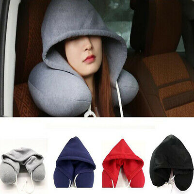 Travel Hooded Pillow Cushions Car Office Airplane Head Rest Neck Support U-Shape