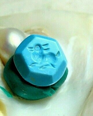 Antique  Intaglio Persian Turquoise Fawn Deer Leaping Post Bead For make Jewelry