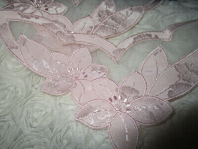 Vintage Rare Fabulous  Swiss Palest Pink Silk  Organza Lingerie Inserts