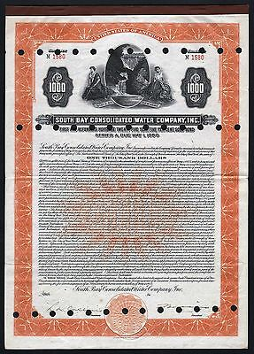 1925 USA (New York): South Bay Consolidated Water Company, Gold Bond