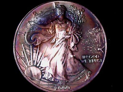 2000 Toned American Silver Eagle Dollar $1 ASE - Rainbow Toning Coin