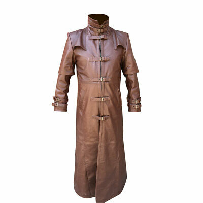 Mens Long Coat Real Brown Leather Goth Matrix Steampunk Gothic Van Helsing
