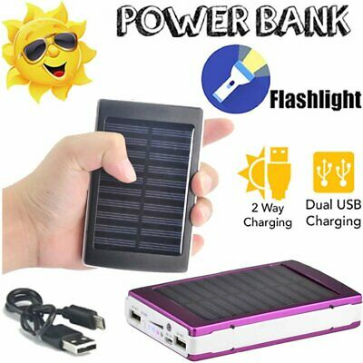100000mAh Portable Waterproof Solar Power Bank Charger Dual External Battery LED