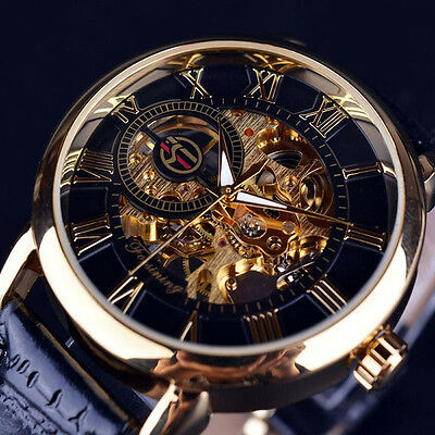 Mens Steampunk Skeleton Stainless Steel Automatic Mechanical Wrist Watch Fast