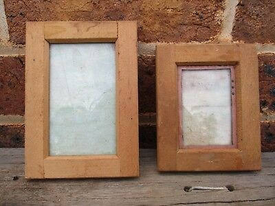 2 X Antique Glass & Wood Photographic Developing Slides Printing Frames - Collec