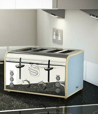 Swan 4 Slice Bread Toaster Toasting Loaf Toastie Browning Control,defrost,reheat