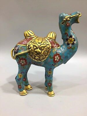 EXQUISITE Chinese Old Cloisonne Handmade Carved Fortune Lucky Camel statue YR