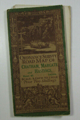 1914 Old Antique OS Ordnance Survey Half-Inch Map 40 Chatham Margate & Hastings