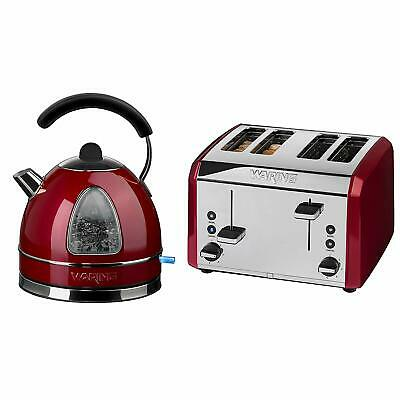 "Waring 4 Slice Toaster & 1.7L Kettle Traditional Retro COMBO-3581 - ""Chilli Red"""