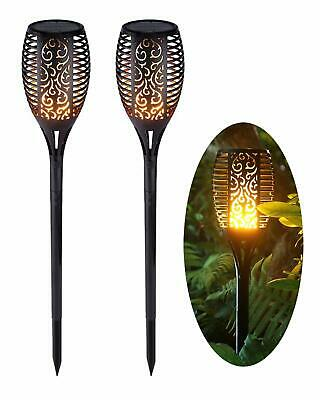 Set of 2 Solar Dancing Flame LED Torch Stake Flickering Outdoor Garden Lights