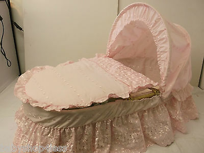 moses basket dressing bedding covers pink b.a border (not basket) new