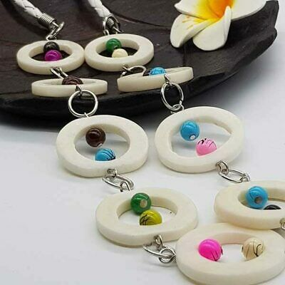 Beads in Stone Rings Necklace Bali Handmade vintage