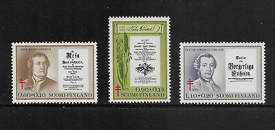 1979 TUBERCULOSIS RELIEF FUND, SCIENTISTS, Finland, mint set of 3, MNH MUH