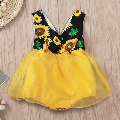 UK Infant Baby Girl Floral Jumpsuit Romper Bodysuit Dress Outfits Clothes Summer