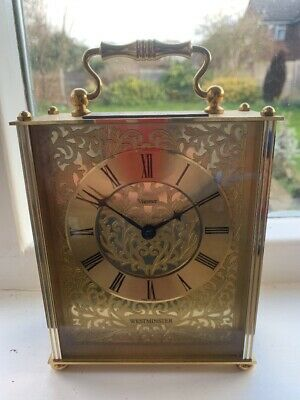 Minster Quartz Brass Carriage Clock Westminster Hourly Chime Working Vintage