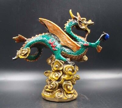 Chinese Handmade Carving Statue Dragon Copper Cloisonne Coloured drawing Statues