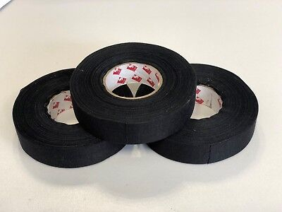 Scapa Black Adhesive Fabric Cloth Tape x3 rolls for Vehicle Car Wiring 19mm 25m