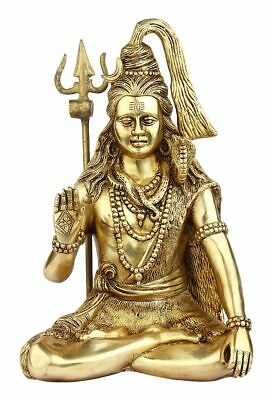 Brass Hindu God Lord Shiva Statue Antique Religious Sculpture Art Figure 12""