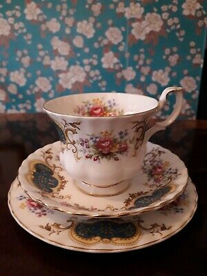 Royal Albert - 'Berkeley' roses and flowers - cup, saucer and cake plate - mint