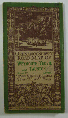 1928 Vintage OS Ordnance Survey Half-Inch Road Map 37 Weymouth Yeovil & Taunton
