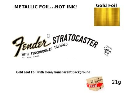 Fender Stratocaster Guitar Headstock Decal Restoration Waterslide Logo 21g