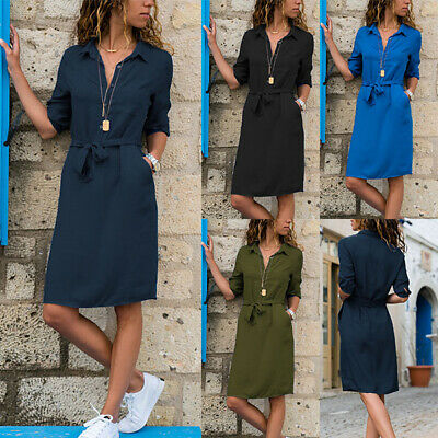 Womens Button Down V Neck Midi Dress Ladies Summer Casual Belted Shirt Dress UK
