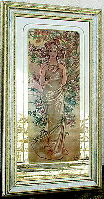 Art Nouveau  / Jungendstil Alphonse Mucha Rare mirror painted Depicting a Rose