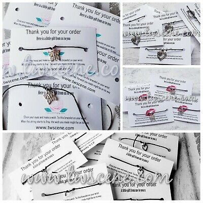 Business thank you for your order slips 10pcs wish bracelet gifts