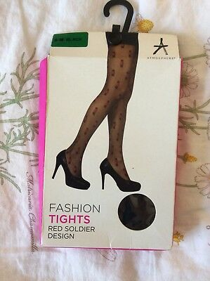 Primark Atmosphere Black Nylon Fashion Tights Hosiery Floral Rose Size M Medium Pantyhose & Tights
