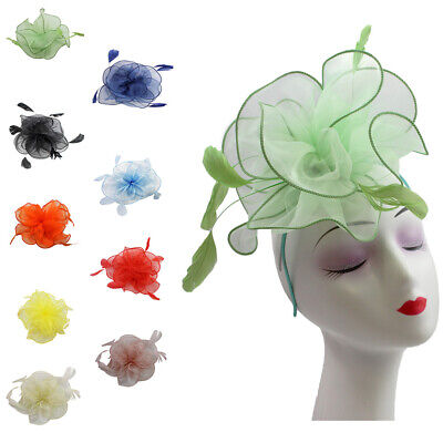 Flower Feather Hair Wedding Hat Large Fascinator Headband Clip Royal Ascot Race