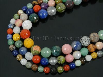 Natural Mixed Jasper Gemstone Faceted Round Spacer Beads 15.5'' 4mm 6mm 8mm 10mm