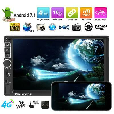 VODOOL 7in Touch Screen 2Din Quad-core Android 7.1 BT Car GPS 1080P MP5 Player