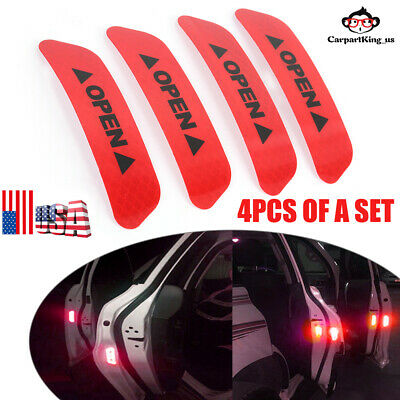 Red 4PCS Super Car Door Open Sticker Reflective Tape Safety Warning Decal USA