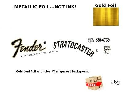 Fender Stratocaster Guitar Headstock Decal Restoration Waterslide Logo 26g
