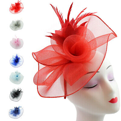 Flower Feather Hair Hat Fascinator Headband Clip Wedding Prom Royal Ascot Races