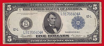 1914 $5 Federal Reserve Note San Francisco Type C= Very Rare.