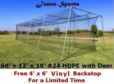 Batting Cage Net 10' x 12' x 60' #24 HDPE (42PLY) with Door Baseball Softball