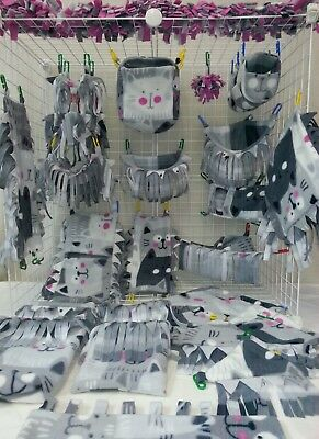 "Sugar Glider ""Fringey Kitty Friends"" 29pc Reversible Gray Cats Fleece Cage Set"