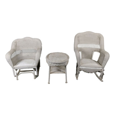 White Resin Wicker Patio Glider, Rocking Chair, & End Table Outdoor Seating