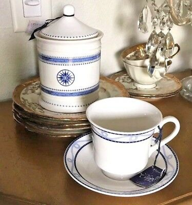 "Whittard of Chelsea ""Clipper"" White Bone China Tea Caddy W/4 Cups & Saucers"