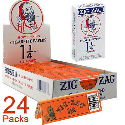 Zig Zag Orange Cigarette Rolling Papers 1¼ Full Box 24x Booklets 32 Leaves