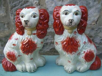 Staffordshire Chimney Spaniels. Large Russet Spaniels. 20th C. (177)