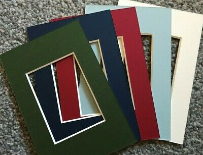 """5 Assorted Colours Picture Frame Mounts 6X4 Overall For 3.5 Inch X 2.5"""" Photo"""