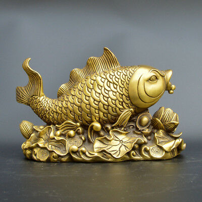 Chinese collection old handwork brass Yanbao louts flowers fish statue YR36