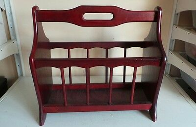 Vintage Mid Century Wooden Magazine Newspaper Rack Free Standing Country Furnitu
