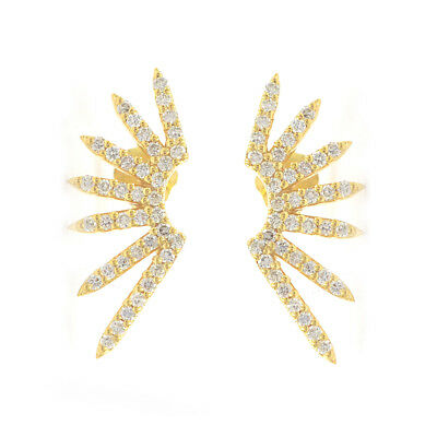 ecbea2f9d Natural Diamond Pave Sun Spike Stud Earrings Solid 14k Yellow Gold Fine  Jewelry