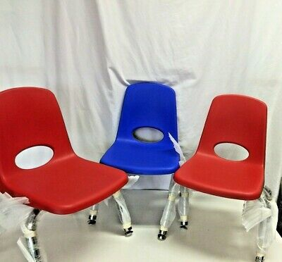 "ECR4Kids 10"" Stacking Chairs, Chrome Legs with Nylon Swivel Glides, Set of 3 P-B"